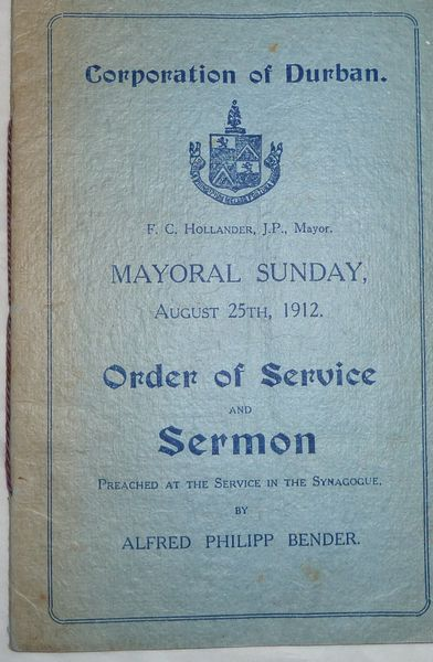 Order of Service and Sermon, Mayoral Sunday, August 25th, 1912.
